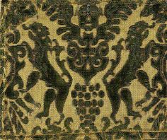 Cisele Velvet,Circa 1560-1680,Italy : A figured velvet in which the pattern is made up of both cut and uncut velvet - that is both tuft-pile and loop-pile velvet.