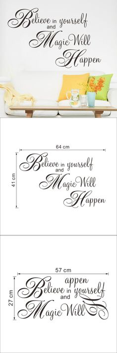 Magic Will Happen Inspiration Quote Wall Sticker decal Home decor Wallpaper Wall Mural Believe In Yourself $3.33