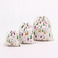 Christmas Trees & Reindeer Cotton Draw string bags 3 Pcs