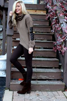 sweater with elbow patches, leggings and ankle boots. Perfect casual look for a chilly day. Winter fashion 2014