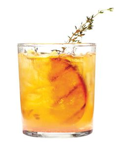 Grilled-Peach Old-Fashioned -       2 ripe yellow peaches     2 tablespoons sugar     6 sprigs thyme, plus more for garnish     4 dashes of bitters     2 tablespoons fresh lime juice     6 ounces bourbon