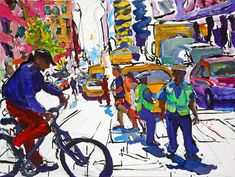 Work in Progress Urban Life, American Artists, Design Elements, Vibrant, Paintings, Artwork, Nyc, Authors, Elements Of Design