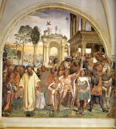 Life of St Benedict, Scene 12: Benedict Receives Maurus and Placidus 1505-08. Fresco Abbazia, Monteoliveto Maggiore.
