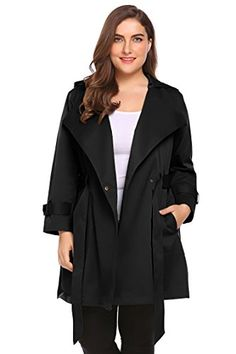 df16a8b9fd7 Involand Womens Plus Size Double-Breasted Hooded Trench Coat Jacket with  Belt