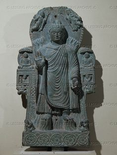 AFGHAN SCULPTURE 4TH Buddha of the great miracle. Limestone with traces of gilding. H: 83 cm, 3rd - 4th CE Gandhara-style, from Paitava, near Charikar, Kapica. MG 17478 Musee Guimet, Paris, France