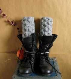 Knitted Boot Cuffs  GREY Knit Boot Cuffs  Leg by recyclingroom
