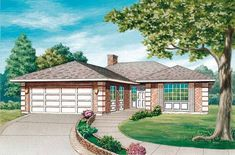 Prairie House Plan with 1385 Square Feet and 3 Bedrooms from Dream Home Source | House Plan Code DHSW35596