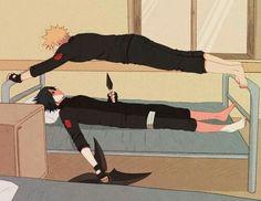 Naruto, Sasuke, funny, training, bed; Naruto