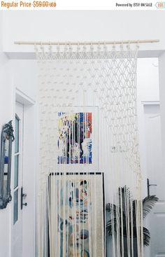 ON SALE Handmade macrame wall hanging, Black White Home Decor, Love Knot, Home Decor tapestry, weaving, fiber art, textile art, gift idea