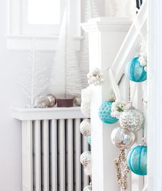 tiffany blue christmas ornament baubles on stairs - Style at Home via Turquoise Christmas, Coastal Christmas, Magical Christmas, Blue Christmas, Christmas Colors, All Things Christmas, Christmas Home, Christmas Decorations, Christmas Ornaments