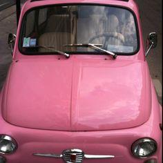 Vintage pink Fiat 500