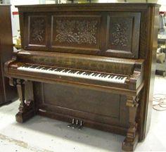 Kimball Oak Victorian Upright Piano | The Antique Piano Shop