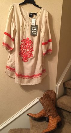 Womens Western Dress Size L Tunic Style Western  Cream Embroidered Ivory Boho Fashion #womenswesternwear #cowgirl #summerdress #casualdress #bohodress #bohemiandress #dress #tunicdress #westerndress #countrydress #countryandwesterndress #dressesforwomen #cowgirlclothes #westerndresses #womenscountrywesterndresses #womenswesterndresses #bohoandembroidered #cutedresses #shiftdress