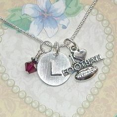 I Love Football Hand Stamped Sterling Silver Initial Charm Necklace by DolphinMoonCreations, $34.00