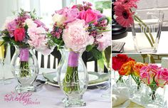 monogramed bouquet vases for your reception