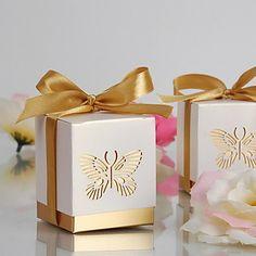 de oro por láser corte mariposa caja a favor (juego de 12) - USD $ 3.99