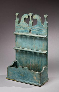 """Carved Spoon Rack with its Original Painted Decoration, New England, Circa 1750-1800, 12.75"""" W, 21.5"""" H, 6"""" D"""