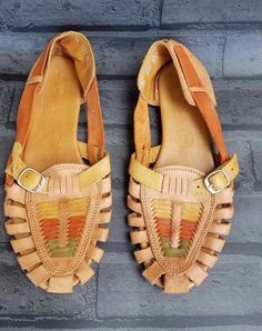 109f78b49bb D arte Footwear Strap Sandals Huaraches Mexican Brown Leather sz 9 US 26 MX
