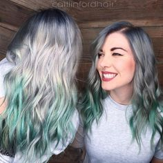 20 Ways to Rock Green Hair Silver+Gray+Hair+With+Mint+Balayage Green Hair Ombre, Mint Green Hair, Green Wig, Green Hair Colors, Teal Hair, Ombre Hair Color, Mint Hair Color, Ashy Hair, Lilac Hair