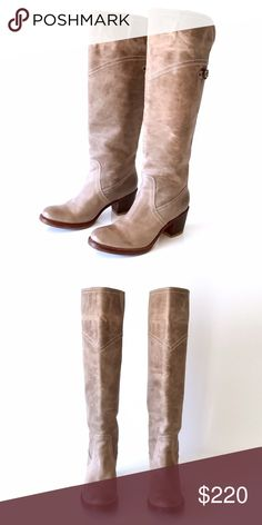 """FRYE • Jane Cuff Boots 🌿PRICE is Firm🌿There is nothing plain about these Jane cuff boots! Pull up style. Antiqued, distressed leather for a timeworn look, makes these beauties divine! Wear up or cuffed, these will make any outfit stand out!   2 1/4"""" stacked wooden heel  Shaft height 19 1/2"""" Circumference 15 1/2""""   Condition: Gently worn, a handful of times, in great condition! Some light creases/scuffs on leather. Professional slip soles added for durability.   🌿No trades (modeled photos…"""