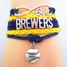 Infinity Love Milwaukee Brewers Baseball - Show off your teams colors! Cutest Love Milwaukee Brewers Bracelet on the Planet! Don't miss our Special Sales Event. Many teams available. www.DilyDalee.co