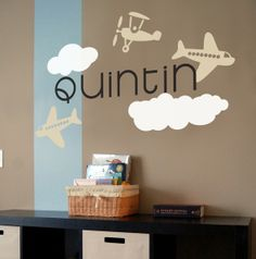 Love this font!  Airplane themed toddler room Vinyl decal $25.00