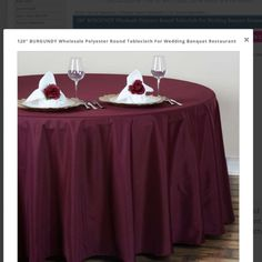 Polyester round burgundy tablecloths for wedding or wedding event