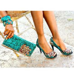 African Print Shoes And Bag Set , Nigerian Wedding Purse And Shoes Set