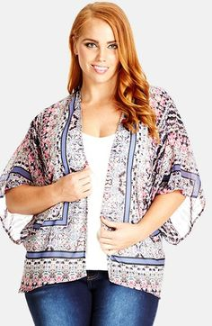 City Chic 'Floral Scarf' Print Sheer Kimono Jacket (Plus Size) available at #Nordstrom