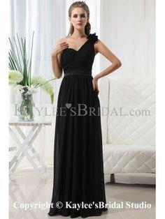 0592f5da39d3 Chiffon One-Shoulder Floor Length Column Bridesmaid Dress with Ruffle and  Flower Abiti Da Ballo
