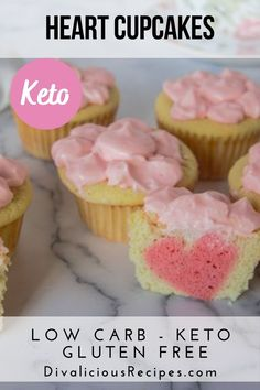 Nothing says I love you than a heart dessert! When you cut these cupcakes in half, it reveals a heart shape. #keto #lowcarb #glutenfree #valentines #coconutflour #sugarfree