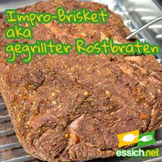 Brisket - gegrillter Rostbraten in der Improvariante - essich.net Bbq, Brisket, Meat, Food, Roasts, Crickets, Food Food, Food Recipes, Barbecue