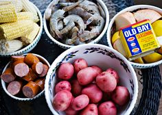Lowcountry Boil recipe - I have had many a party where we served Lowcountry Boil.  It is a pretty perfect dish to make for a crowd.  It is easy to make.  You can prep everything ahead of time.  It can make enough to serve 2 or to serve 20.  All you need is some good beer, crusty garlic bread and some cocktail sauce.  This meal is meant to be messy.  We eat it outside with the table covered in newspaper. #potatoes #shrimp #cookout