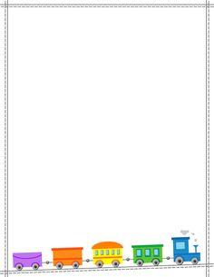 Free train border templates including printable border paper and clip art versions. Borders For Paper, Borders And Frames, Borders Free, Page Boarders, Printable Border, Printable Labels, Printables, Educational Activities For Preschoolers, Kindergarten Portfolio