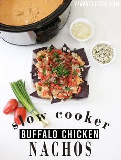 Slow cooker buffalo chicken nachos - perfect for entertaining and SO good! #CrockPotRecipes AD