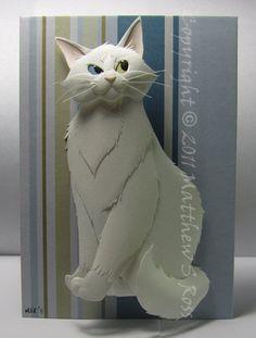 cat--amazing paper art by Matthew Ross. Paper Artwork, Cool Artwork, Amazing Artwork, Origami, Quilling Paper Craft, Paper Crafts, Cut Out Art, Paper Pop, Cat Crafts