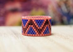 PEYOTE RING Apricots and Blueberries by PeyoteRings on Etsy