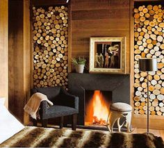 love the wood burning fireplace and stacked wood, would like a different mantle though.