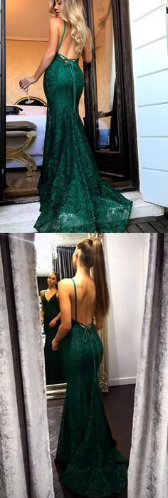 sexy mermaid v-neck lace prom dress with sweep train, bodycon mermaid open back lace party dress with sweep train