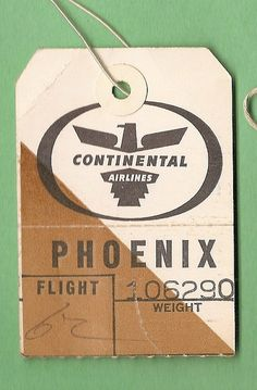 Continental Air Lines Phoenix Tag