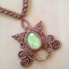 Cat Whispers handcrafted Macrame Necklace by JoMacrame - Lime agate stone wrapped in tan waxed polyester cord, with gold and yellow beads on Etsy, $30.00 AUD