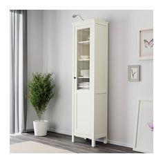 HEMNES Schrank mit Paneel-/Vitrinentür - weiß gebeizt - IKEA