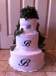 bridal shower towel cake   Bridal Shower Monogram Bath Towel Cake from My Lil'Shrimp Toast on ...