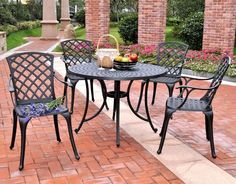 "Bayden Hill KOD6004BK Sedona 42"" Five Piece Cast Aluminum Outdoor Dining Set with High Back Arm Chairs in Black Finish"
