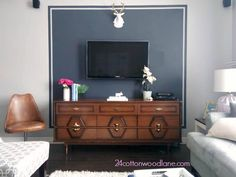 Create a feature wall behind the tv and hide the cables with paint.