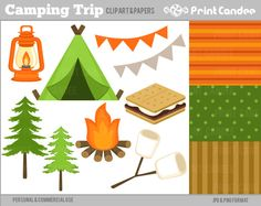 Camping Clip Art Roasting Marshmallow Sleeping Bag Tent