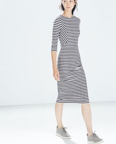 Image 2 of STRIPED DRESS from Zara Moda Zara, Vestidos Zara, Sport Chic, Stylish Outfits, Cute Outfits, Fashion Outfits, Looks Baskets, Dresses For Work, Dresses With Sleeves