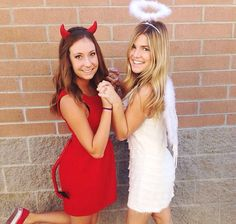 Angel and Devil Best Friend DIY Costume | Creative and Funny DIY Costumes For Halloween by DIY Ready at http://diyready.com/11-diy-couples-halloween-costumes/