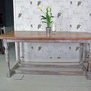 Antique Pine & Painted Kitchen Table