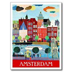 Amsterdam Holland vintage travel tourism ad Postcard